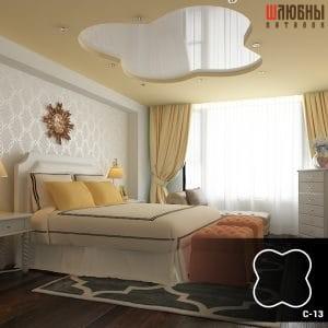 Красивый двухуровневый натяжной потолок в спальне
